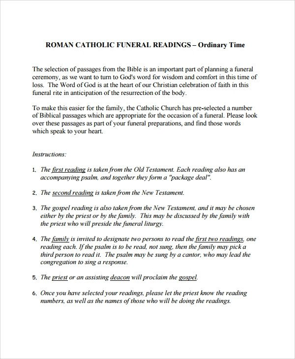 Funeral Mass Program Template Sample Catholic Funeral Program 12 Documents In Pdf