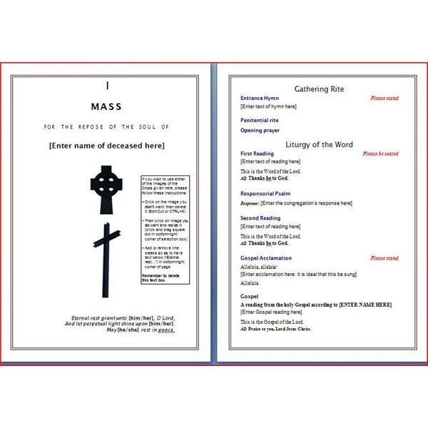 Funeral Mass Program Template Six Resources to Find Free Funeral Program Templates to