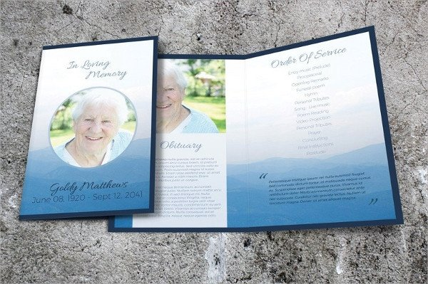 Funeral Pamphlet Template Free 18 Memorial Brochure Templates Psd Vector Eps format