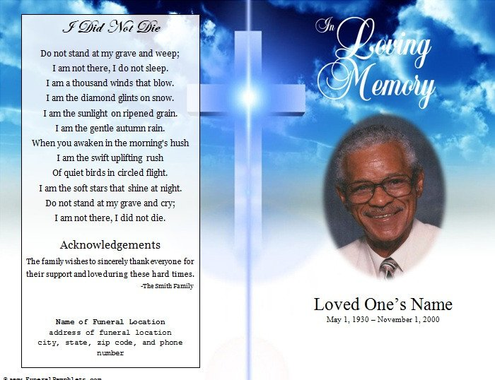 Funeral Pamphlet Template Free Cross Single Fold Funeral Program Funeral Pamphlets