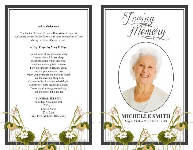 Funeral Pamphlet Template Free Funeral Program Template