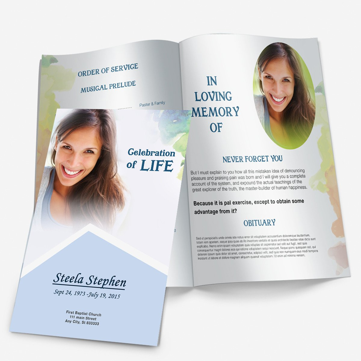 Funeral Pamphlet Template Free Minimal Color Funeral Pamphlets