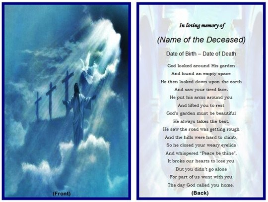 Funeral Prayer Cards Templates Example Of Christian Memorial Card Jesus