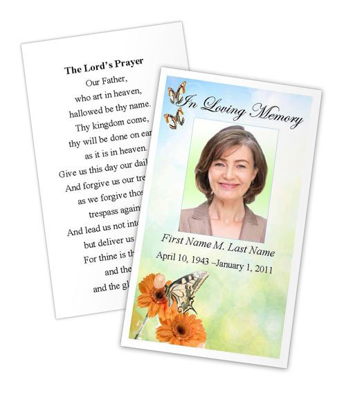 Funeral Prayer Cards Templates Funeral and Memorial Cards Landing Page