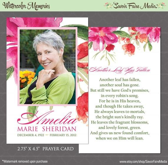 Funeral Prayer Cards Templates Funeral Memorial Prayer Card and Bookmark Printable