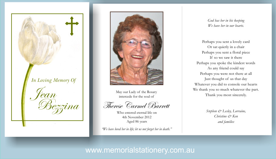 Funeral Prayer Cards Templates Funeral Thank You Cards White Tulip & Cross