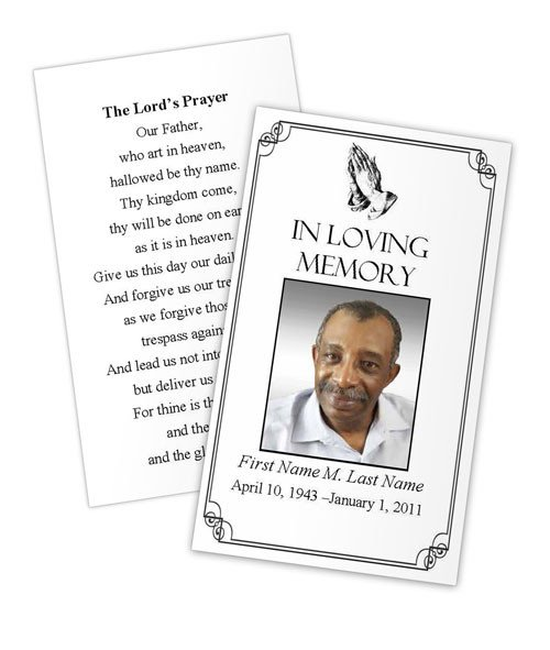 Funeral Prayer Cards Templates Praying Hands Memorial Prayer Card Template Elegant