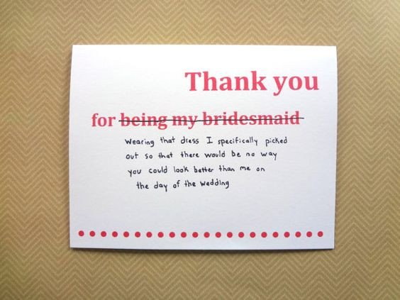 Funny Thank You Notes Funny Thank You Card for Bridesmaid Wedding Thank You
