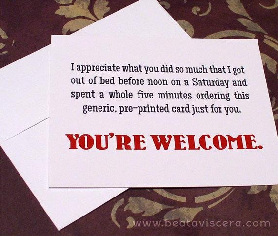 Funny Thank You Notes Funny Thank You Cards Set Of 6 Six A2 Snarky Sarcastic Flat