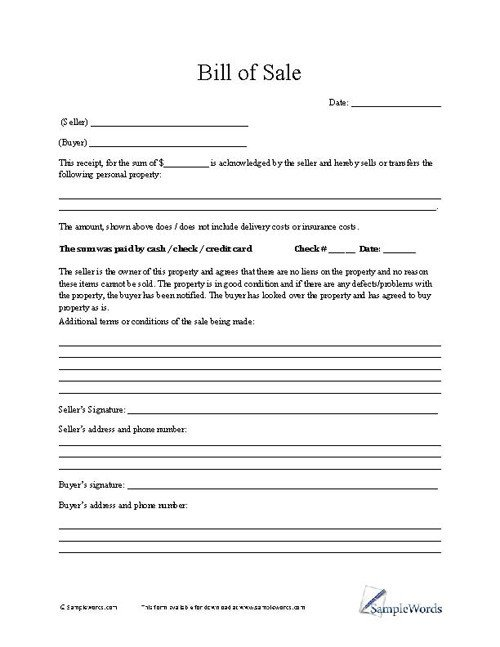 Furniture Bill Of Sale Bill Of Sale form