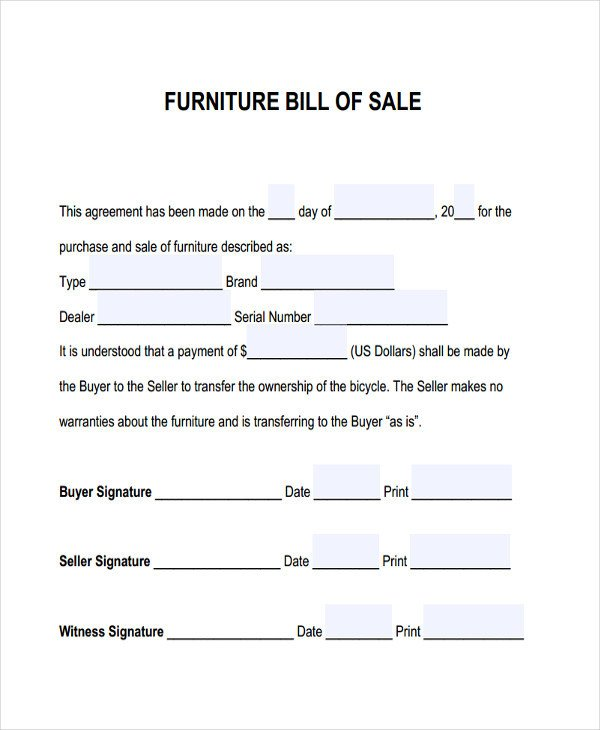 Furniture Bill Of Sale Furniture Bill Sale