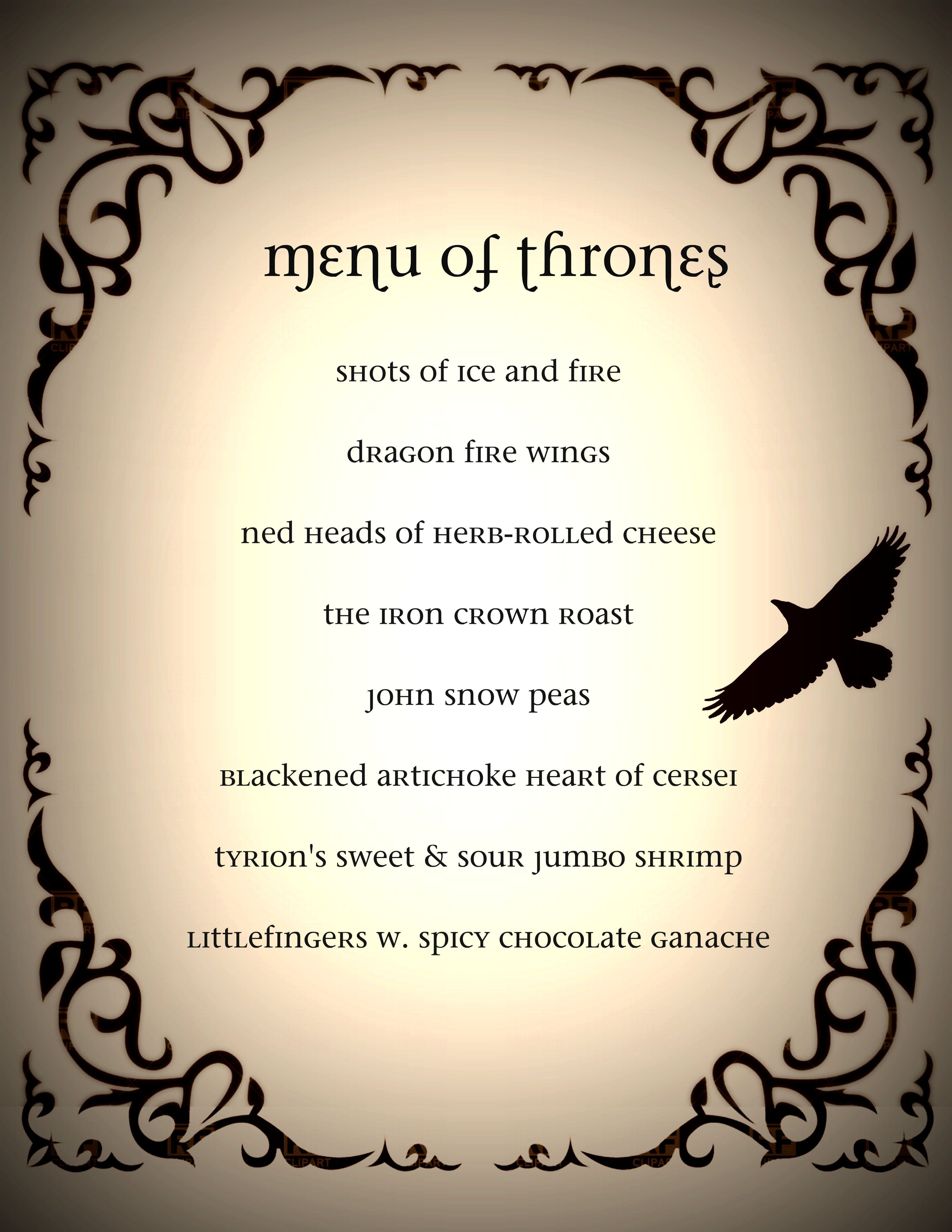 Game Of Thrones Menu Template Game Of Thrones Dinner Party Menu Got