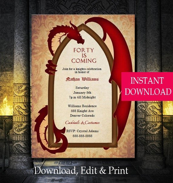 Game Of Thrones Menu Template Game Of Thrones Inspired Dragon Invitation Dragon