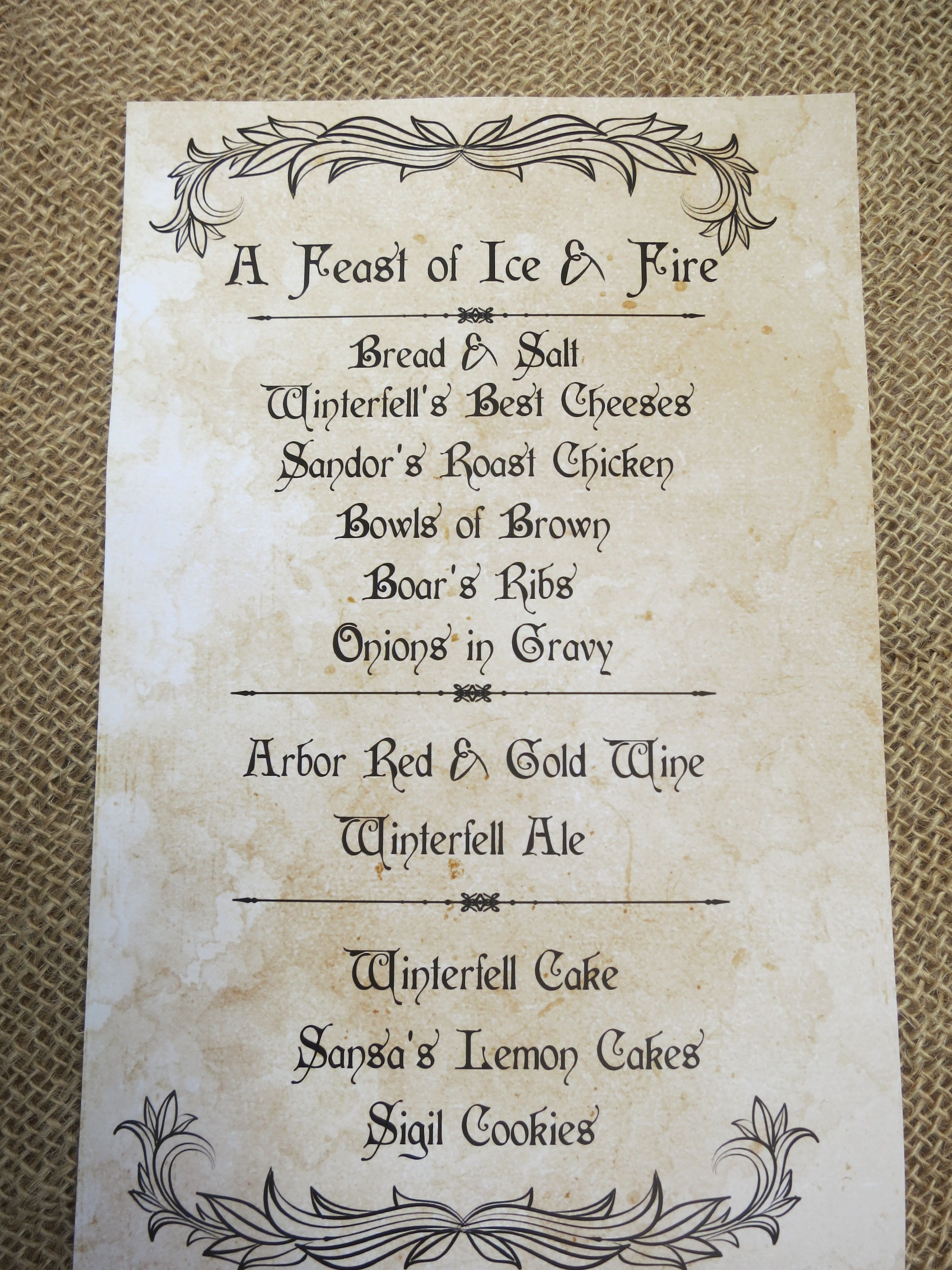 Game Of Thrones Menu Template Game Of Thrones Party Menu