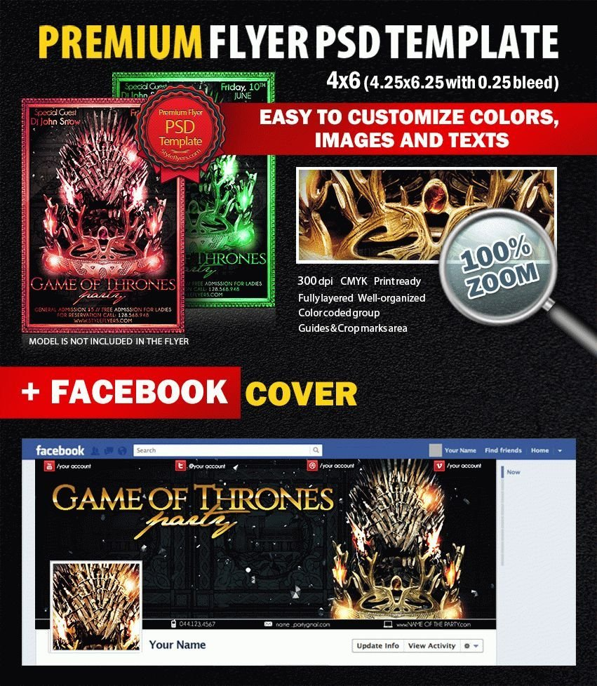 Game Of Thrones Menu Template Game Of Thrones Party Psd Flyer Template 8262 Styleflyers