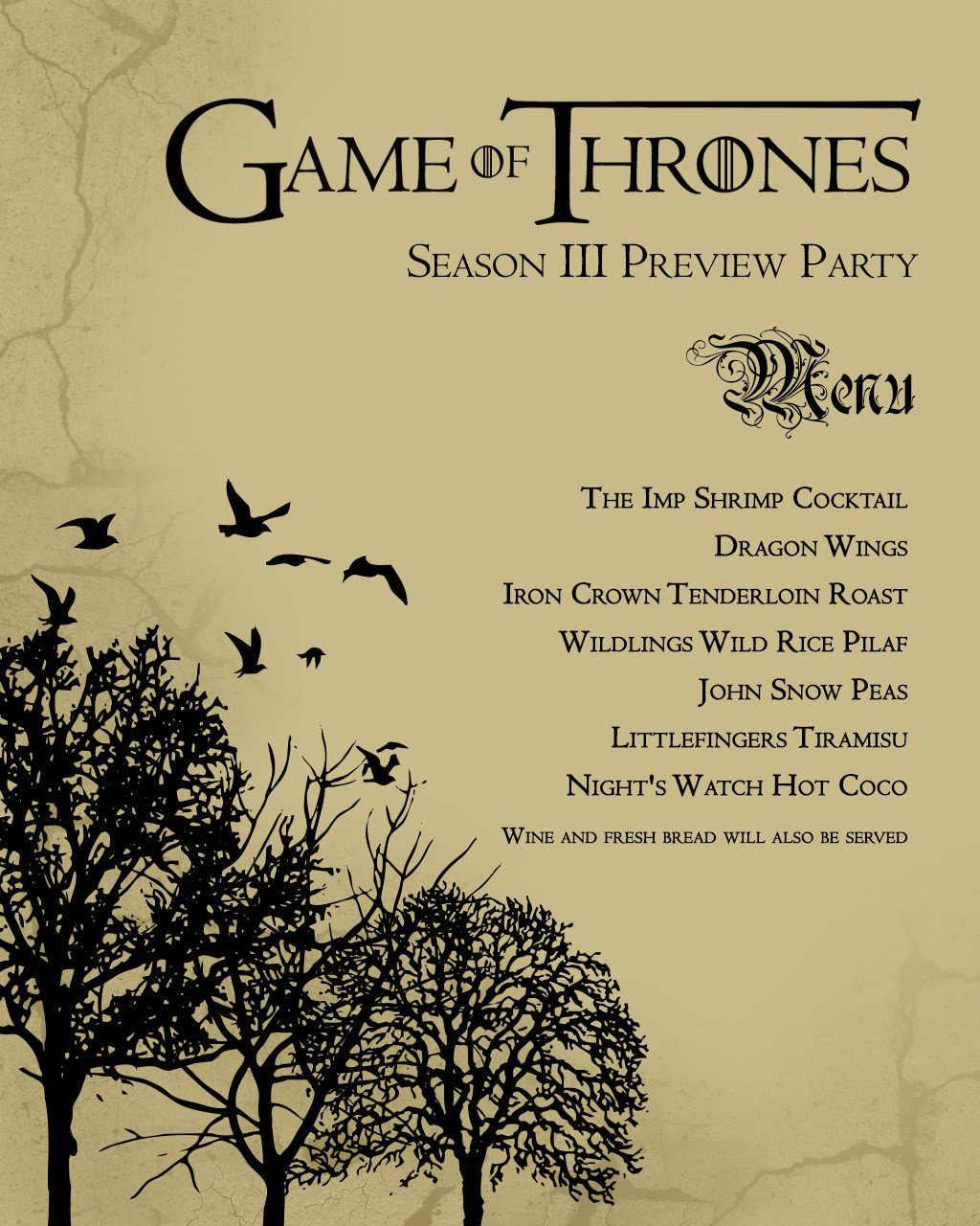 Game Of Thrones Menu Template Game Of Thrones S3 Premier Viewing Party