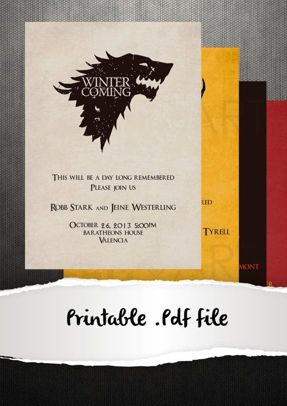 Game Of Thrones Menu Template Game Thrones Party Invitation Template