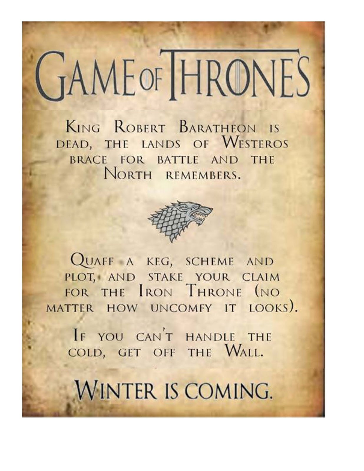 Game Of Thrones Menu Template Obsessive Game Of Thrones Party Planning Guide S3pp
