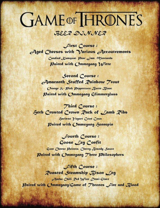 Game Of Thrones Menu Template Twin City Restaurant Hosts Legendary Five Course Game Of