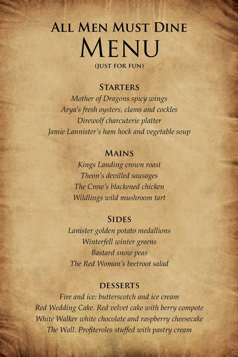 Game Of Thrones Menu Template Winteris Ing Wineis Ing
