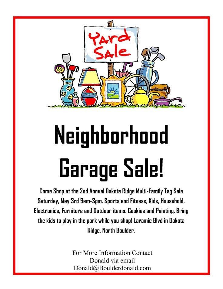 Garage Sale Flyer Template Free Dakota Ridge Munity Garage Sale May 3rd 2014