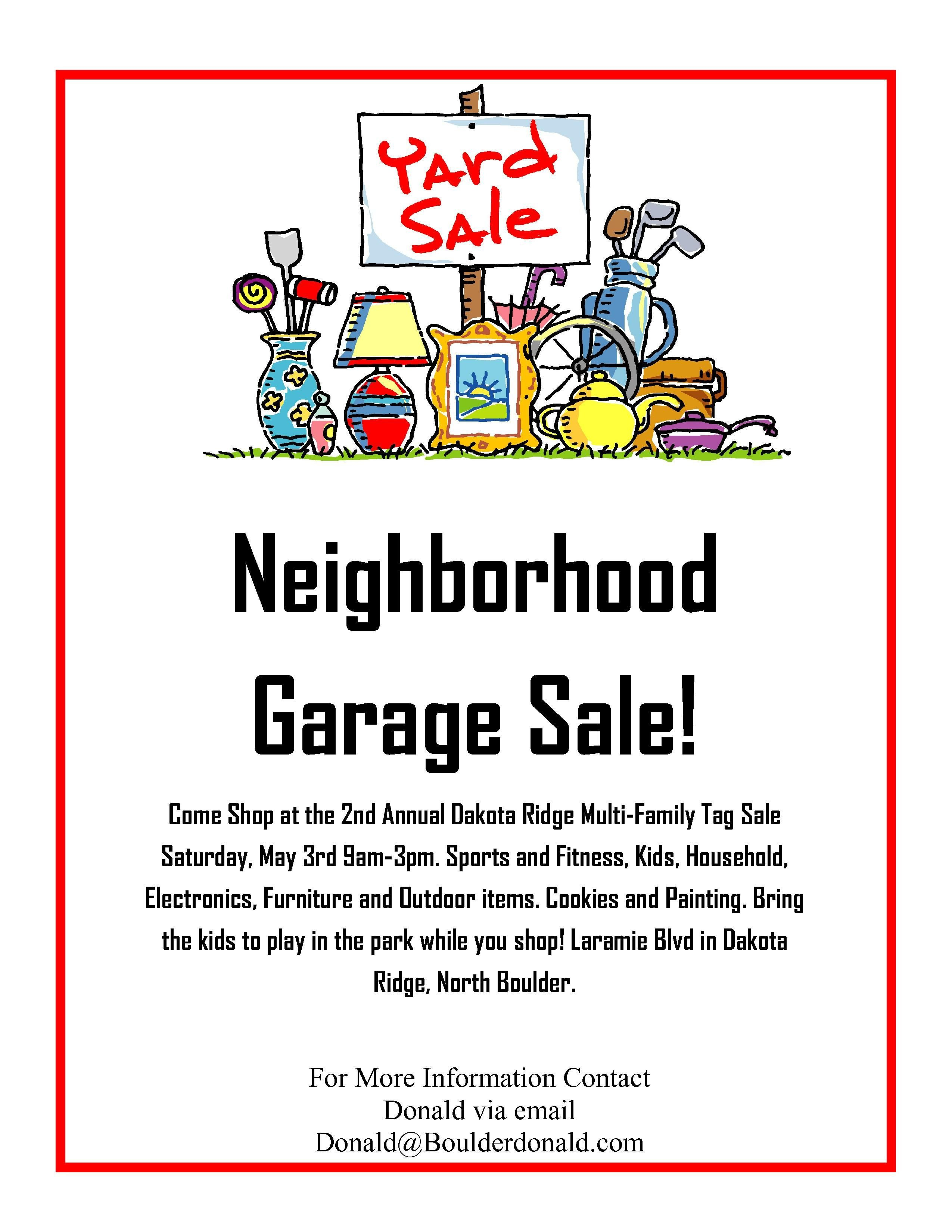 Garage Sale Sign Template Dakota Ridge Munity Garage Sale May 3rd 2014