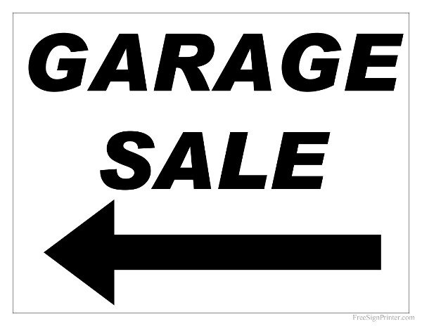 Garage Sale Sign Template Free Printable Garage Sale Sign with Arrow Pointing Left