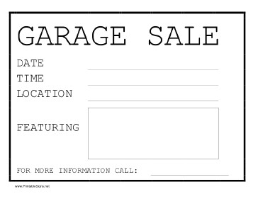 Garage Sale Sign Template Printable Garage Sale Sign