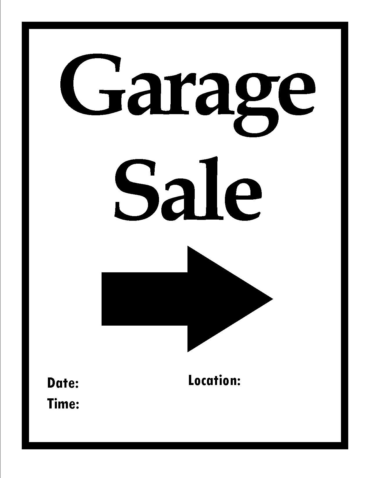 Garage Sale Sign Template Printable Items to organize Your Next Move