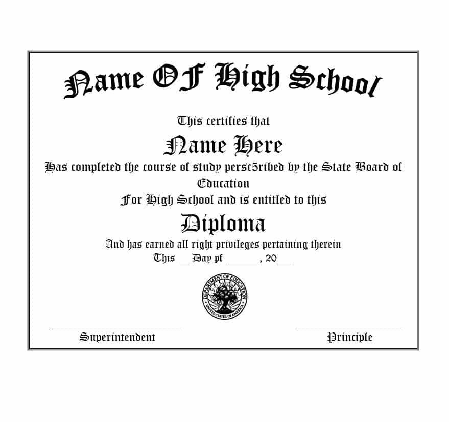 Ged Certificate Template Download 30 Real & Fake Diploma Templates High School College