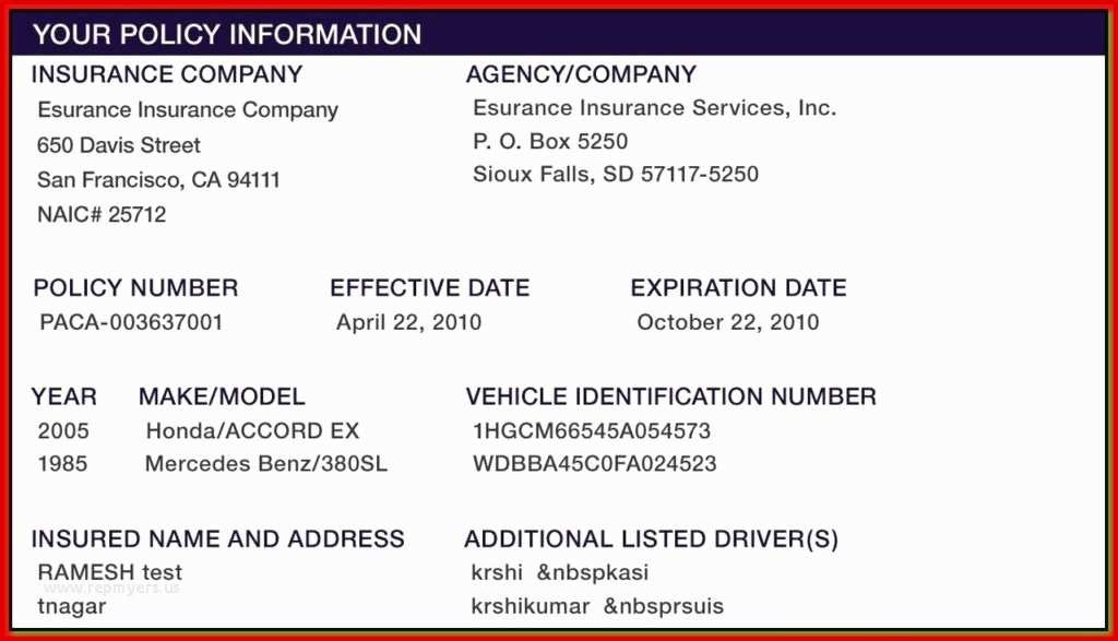 Geico Insurance Card Template Download 50 First Fake Proof Insurance Templates