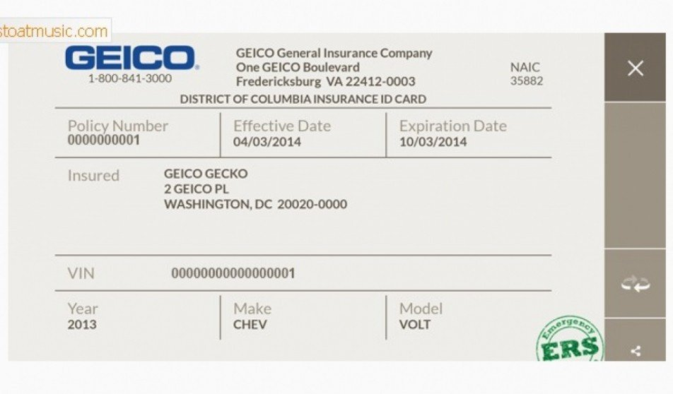 Geico Insurance Card Template Download Fake Insurance Card Template Penaime Document Geico