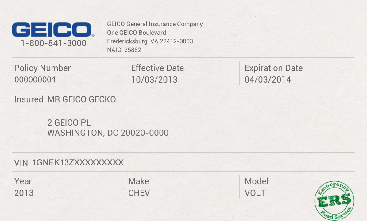 Geico Insurance Card Template Download Geico App Screenshot
