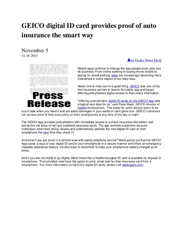 Geico Insurance Card Template Download Geico Digital Id Card Provides Proof Of Auto Insurance the