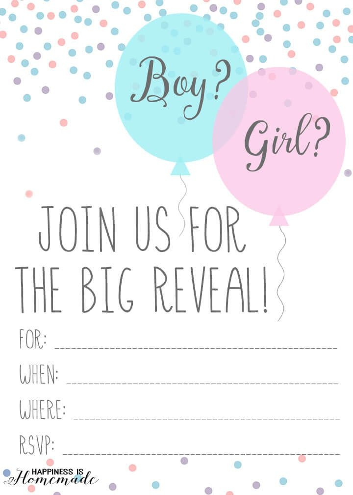 Gender Reveal Invitation Template Baby Gender Reveal Party Ideas Happiness is Homemade