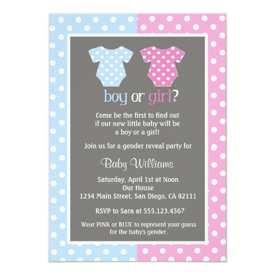 Gender Reveal Invitation Template Gender Reveal Party Baby Shower Invitations