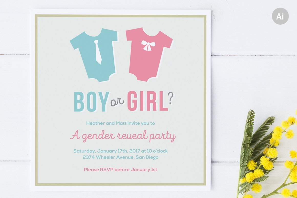 Gender Reveal Invitation Template Gender Reveal Party Invite Invitation Templates