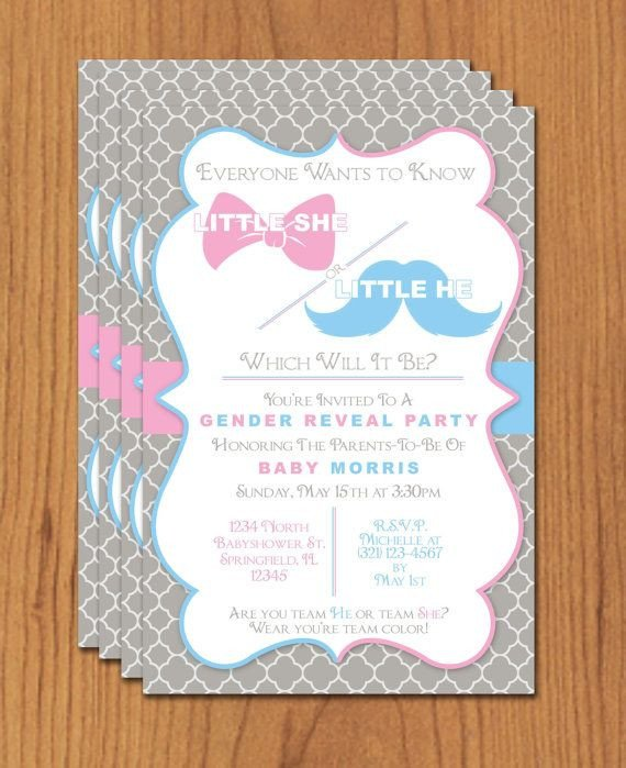 Gender Reveal Invitation Templates Bow and Mustache Gender Reveal Editable Template