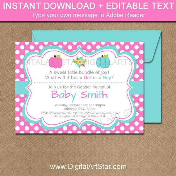 Gender Reveal Invitation Templates Pumpkin Gender Reveal Invitation Template Printable Gender