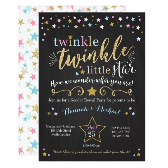 Gender Reveal Invitation Templates Twinkle Twinkle Little Star Gender Reveal Invite