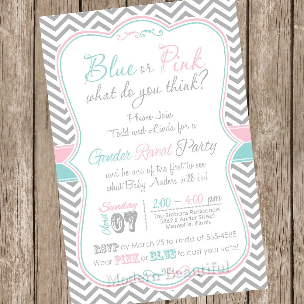 Gender Reveal Invitation Wording Chevron Gender Reveal Invitation Baby Reveal Invite Printable