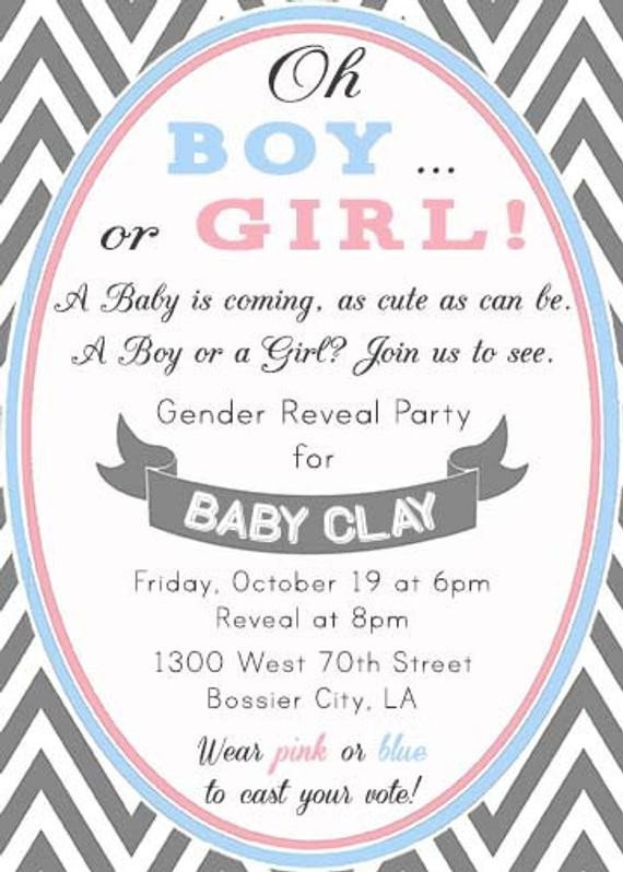 Gender Reveal Invitation Wording Chevron Pink and Blue Modern Gender Reveal Party by