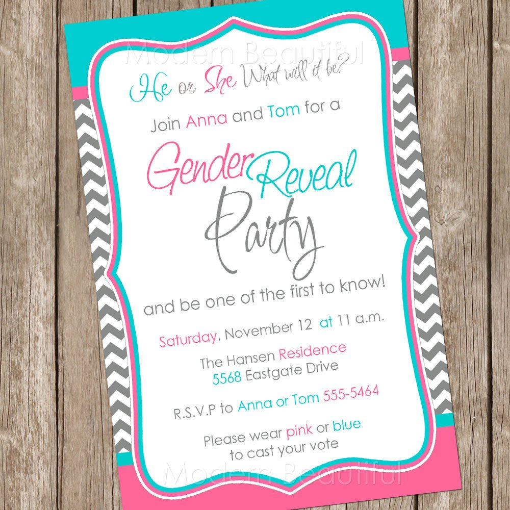 Gender Reveal Invitation Wording Gender Reveal Invitation Baby Reveal Invite by Modernbeautiful