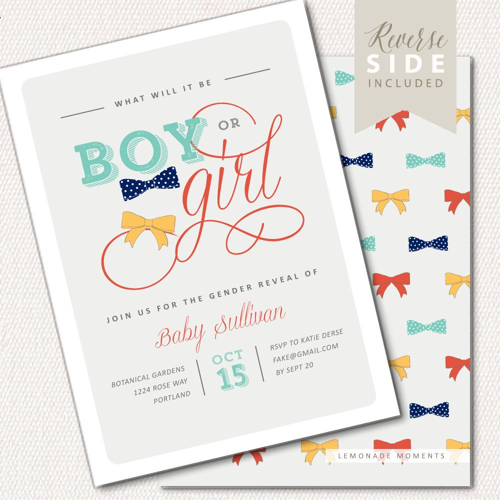Gender Reveal Invitation Wording Gender Reveal Invitation Bow Ties or Bows Invitation Baby
