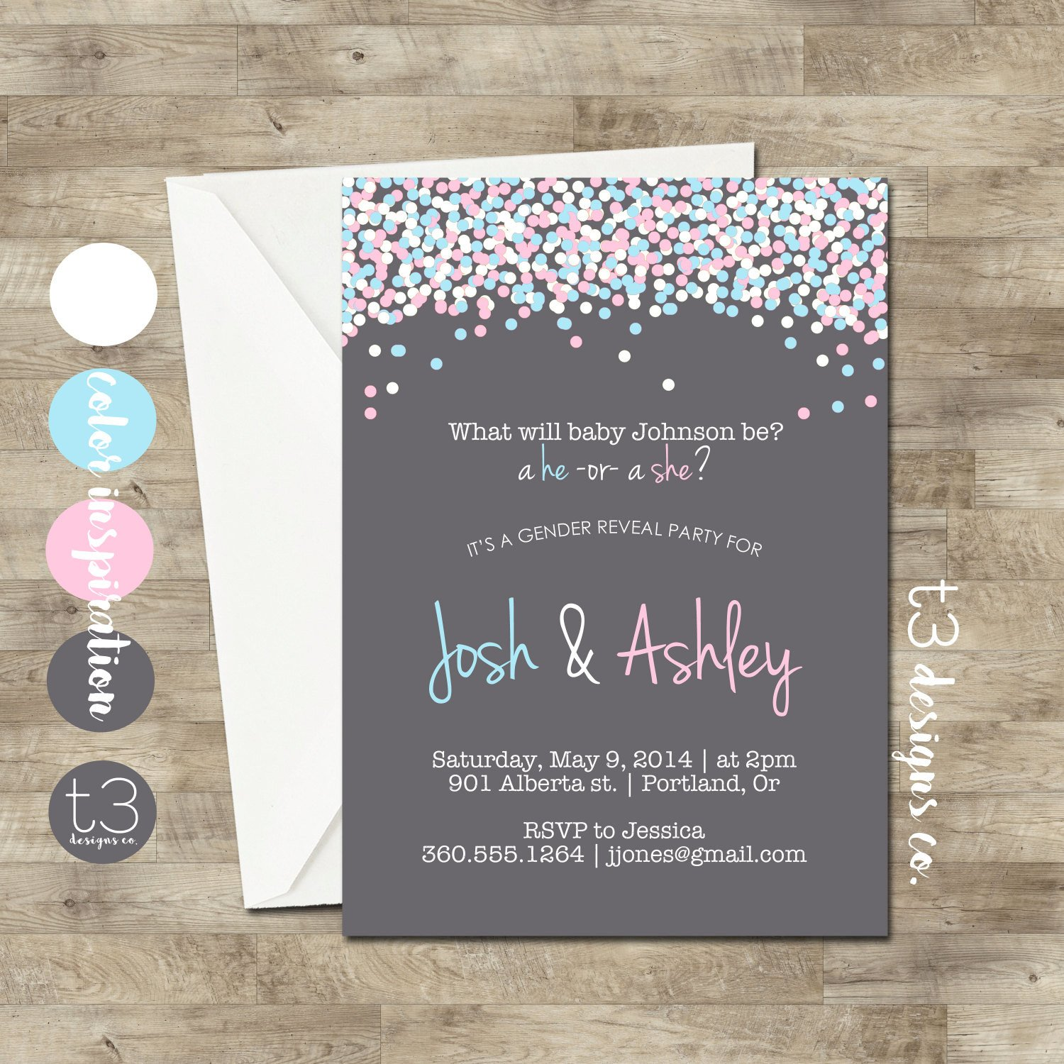 Gender Reveal Invitation Wording Gender Reveal Invitation Confetti Gender Reveal Party
