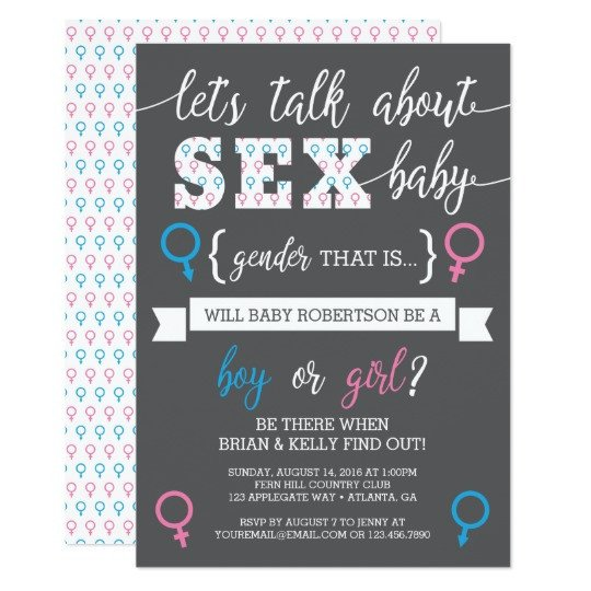 Gender Reveal Invitation Wording Gender Reveal Invitation Let S Talk About Gender Card