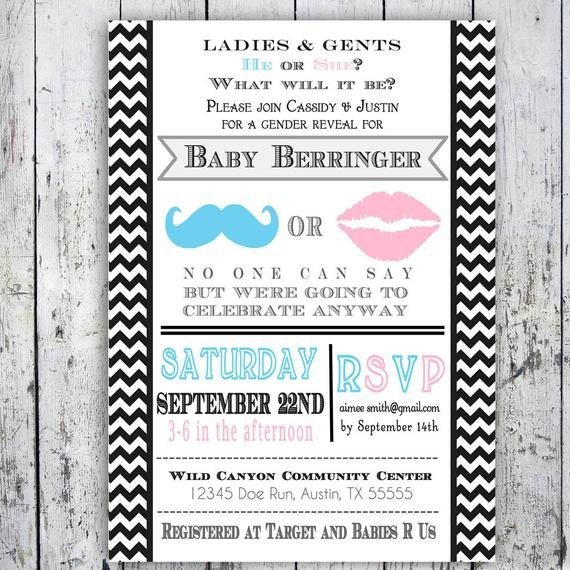 Gender Reveal Invitation Wording Gender Reveal Invitation Little Man or Little Lady