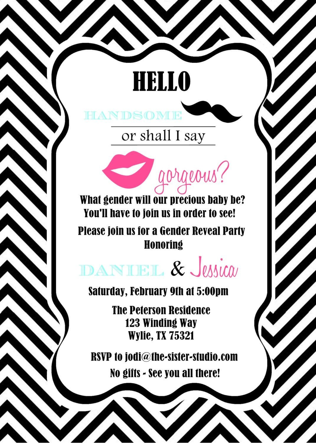 Gender Reveal Invitation Wording Gender Reveal Invite Wording