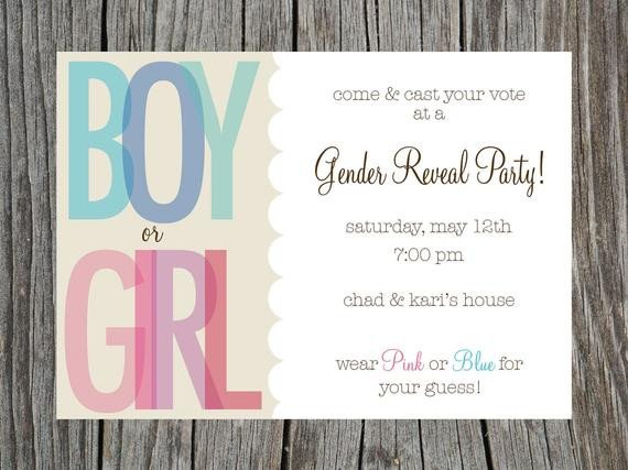 Gender Reveal Invitation Wording Items Similar to Gender Reveal Party Invitation Printable