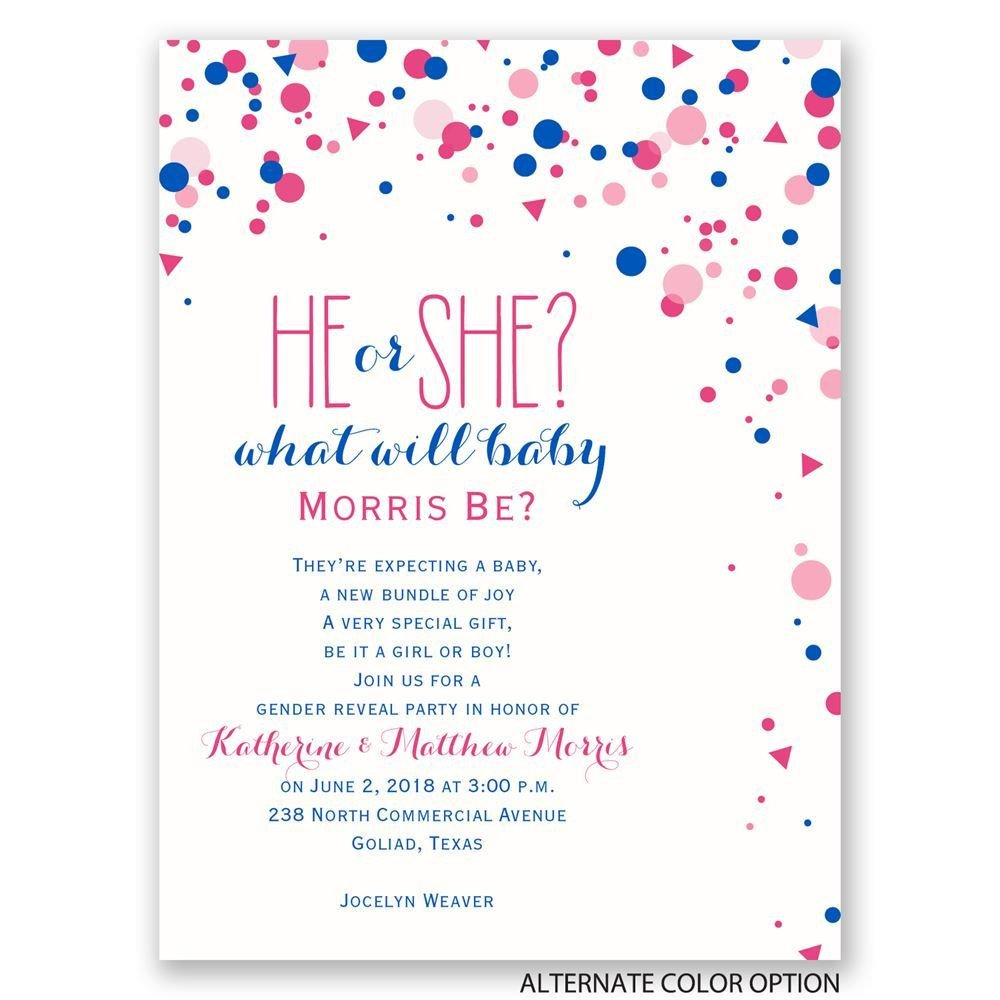 Gender Reveal Invitation Wording Pretty Confetti Petite Gender Reveal Invitation
